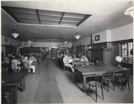 Students studying in the old library