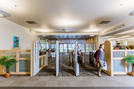 People entering the library