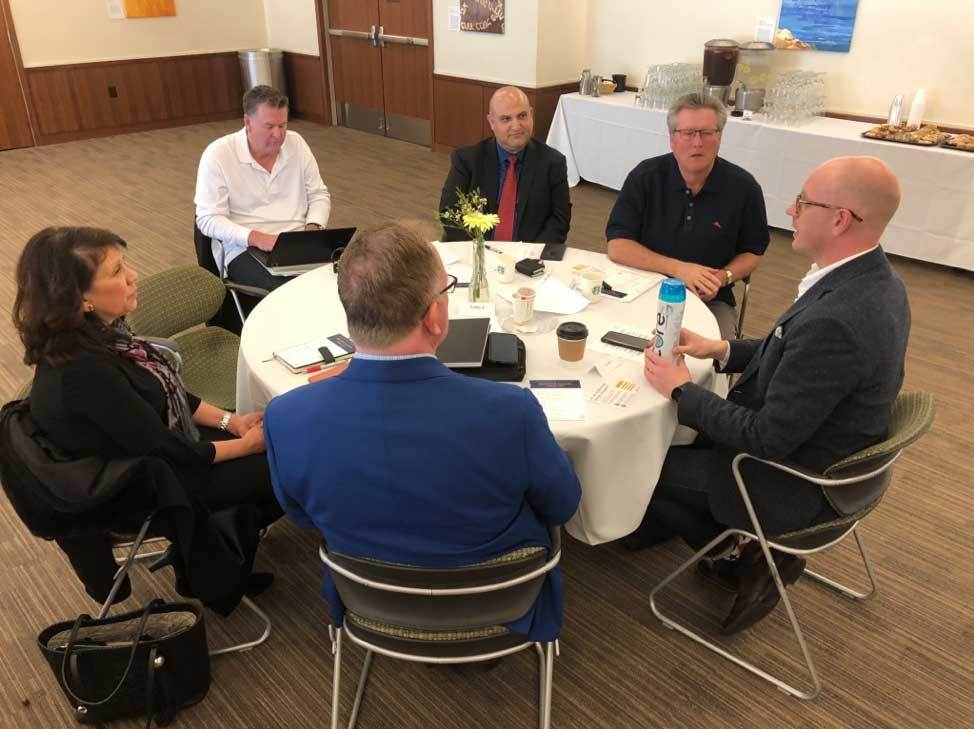 Jon Hart of Praxis Labs, Biola University faculty and SoCal executives at a discussion table