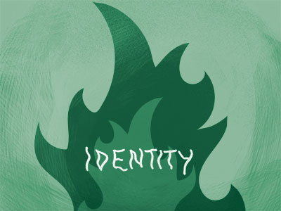 "Artwork of the word ""identity"" engulfed in flames"