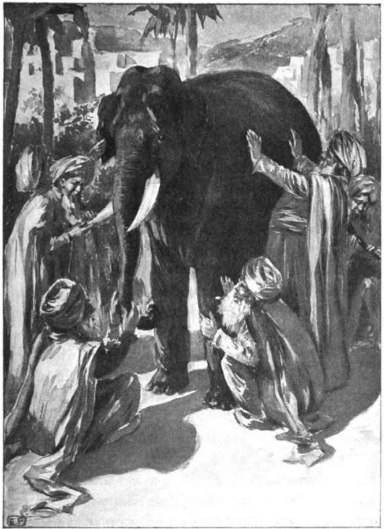 Four blind men touching an elephant