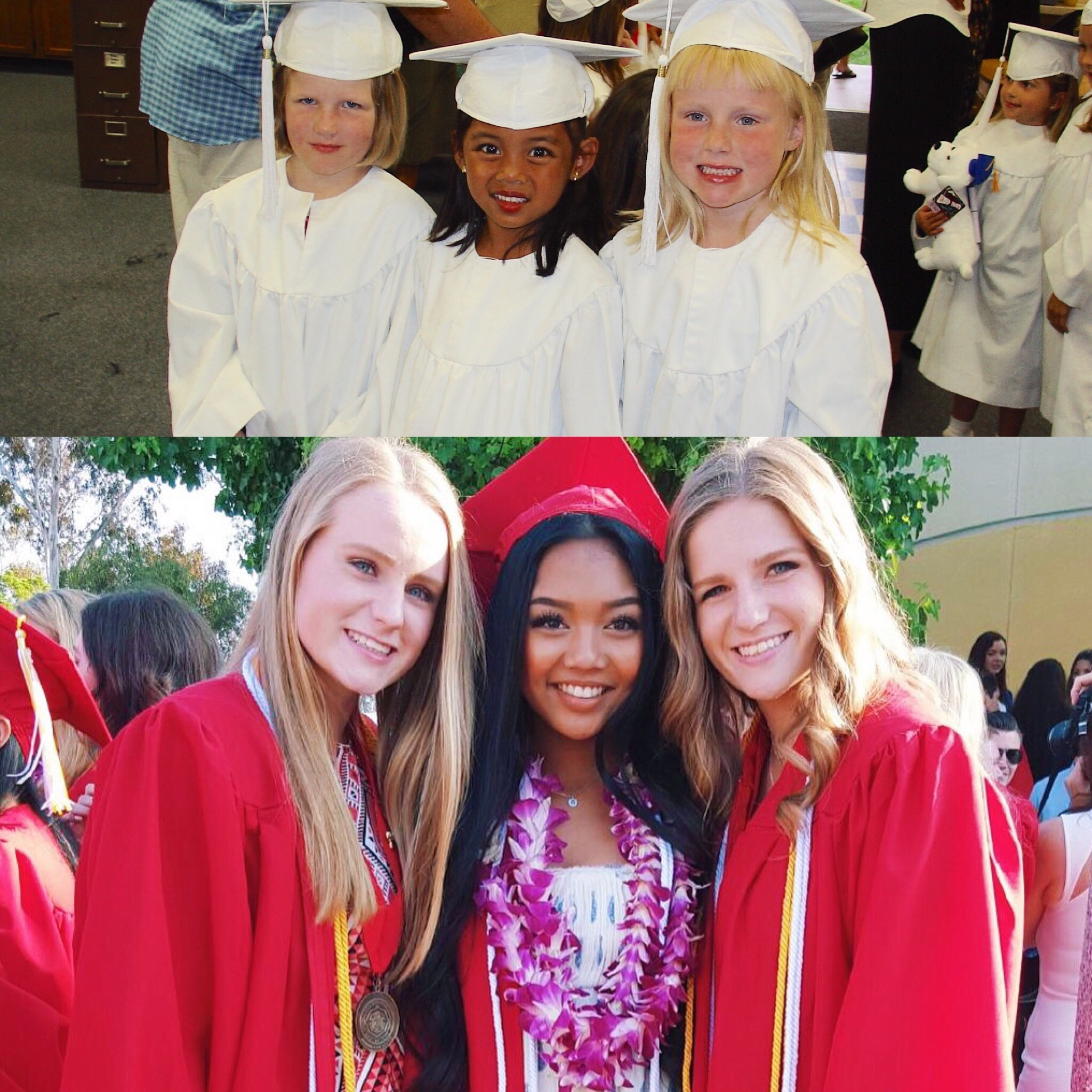 Aubrey and two of her friends at kindergarten graduation and high school graduation