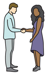 illustration of a man with light skin and a woman with dark skin shaking hands