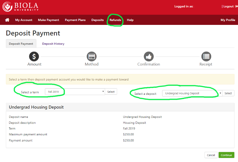 Screenshot of the deposit payment page