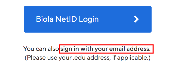 Highlight of link text to sign in with your email address