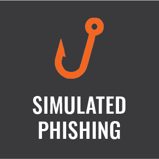 "Orange fish hook above the words, ""Simulated phishing."""
