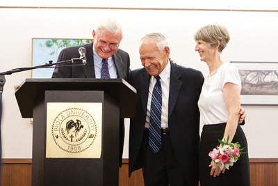 Tom Finley (left) with Richard and Donna Rigsby