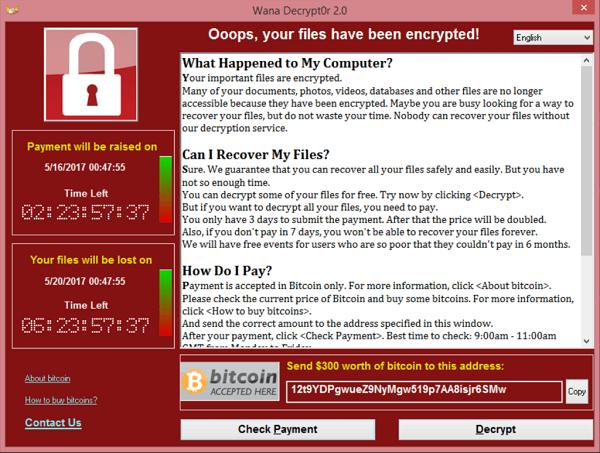 A screenshot of the WannaCry ransomware message.
