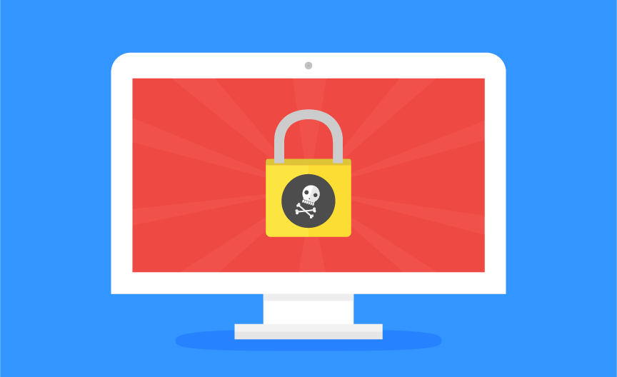 A padlock with a skull-and-crossbones appears on a computer display.