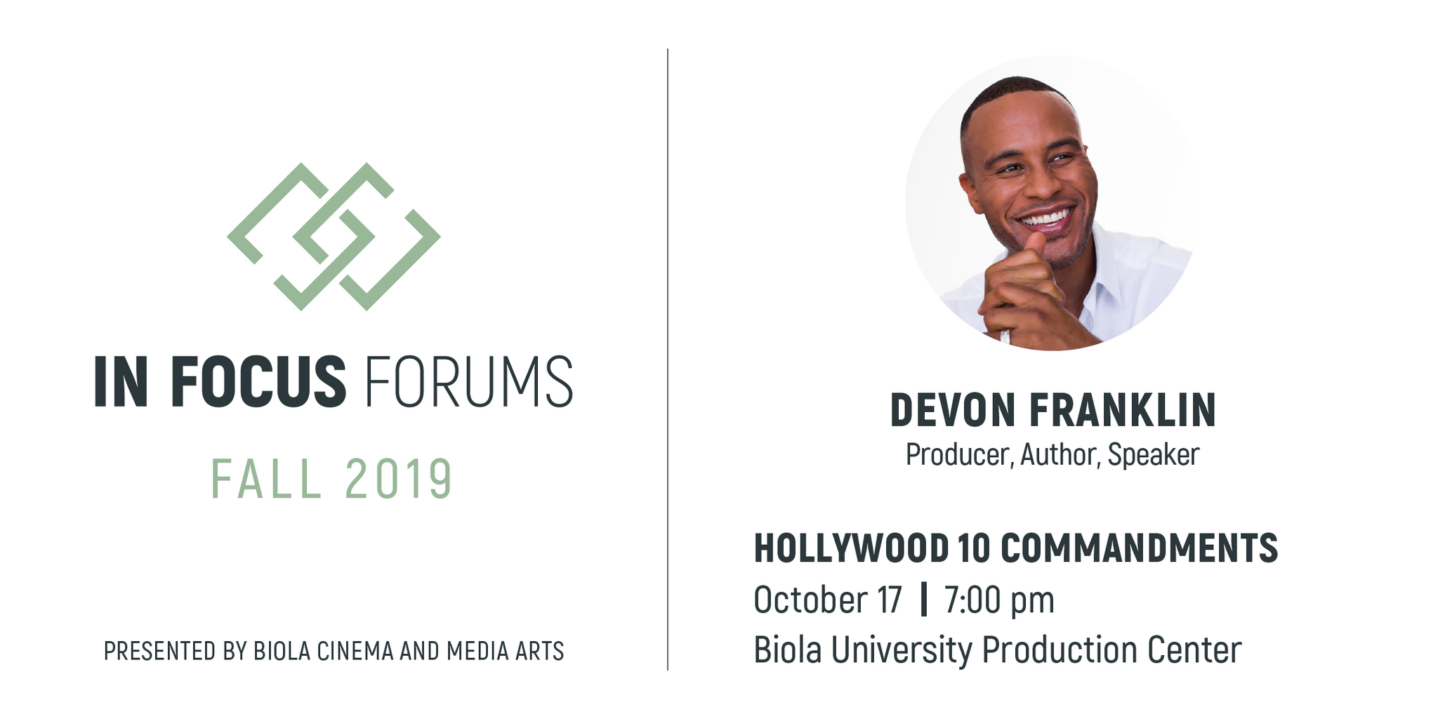 In Focus Forum Fall 2019 event details including speaker, event title, time and location