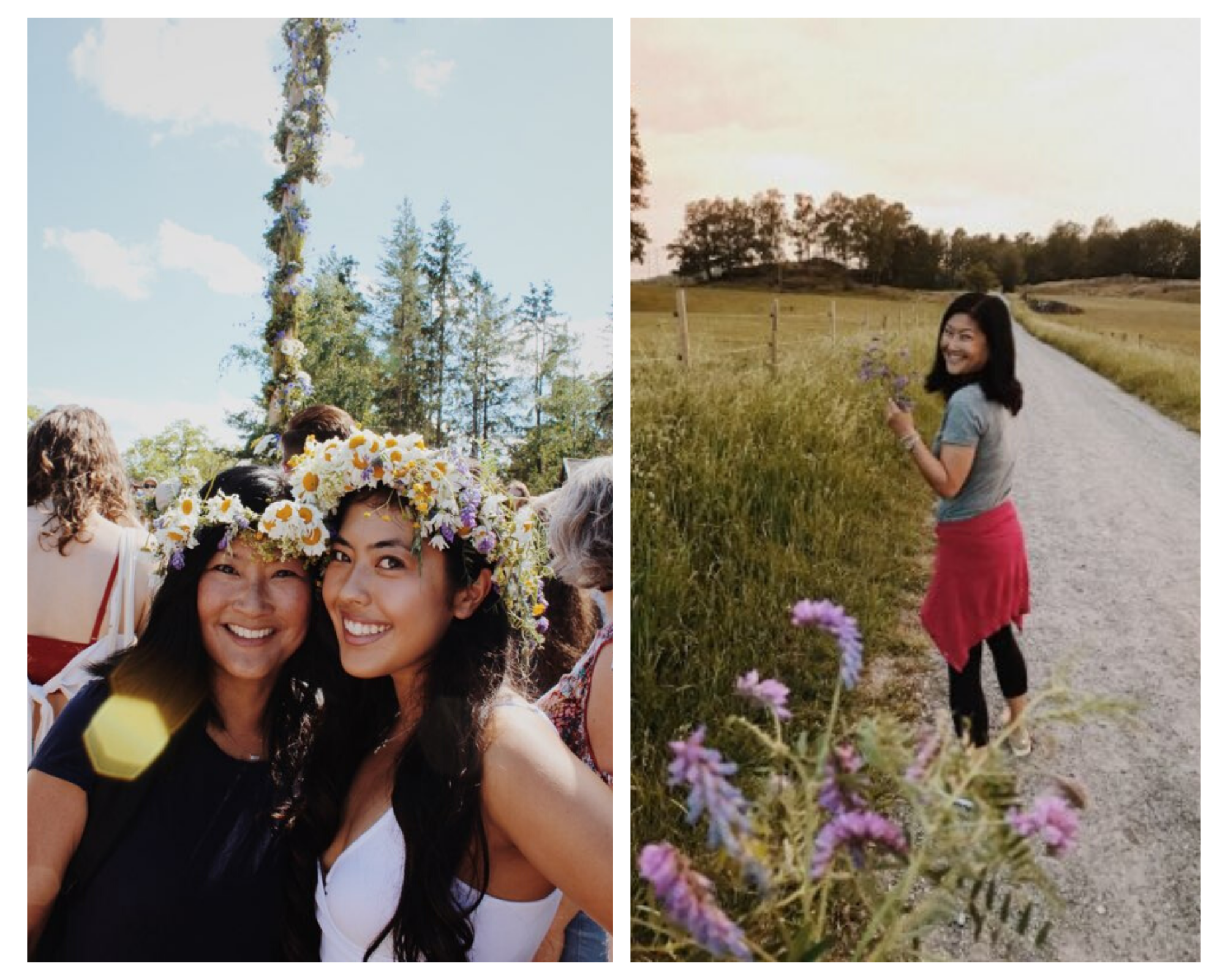 Anna and her mom on a hike, wearing flower crowns