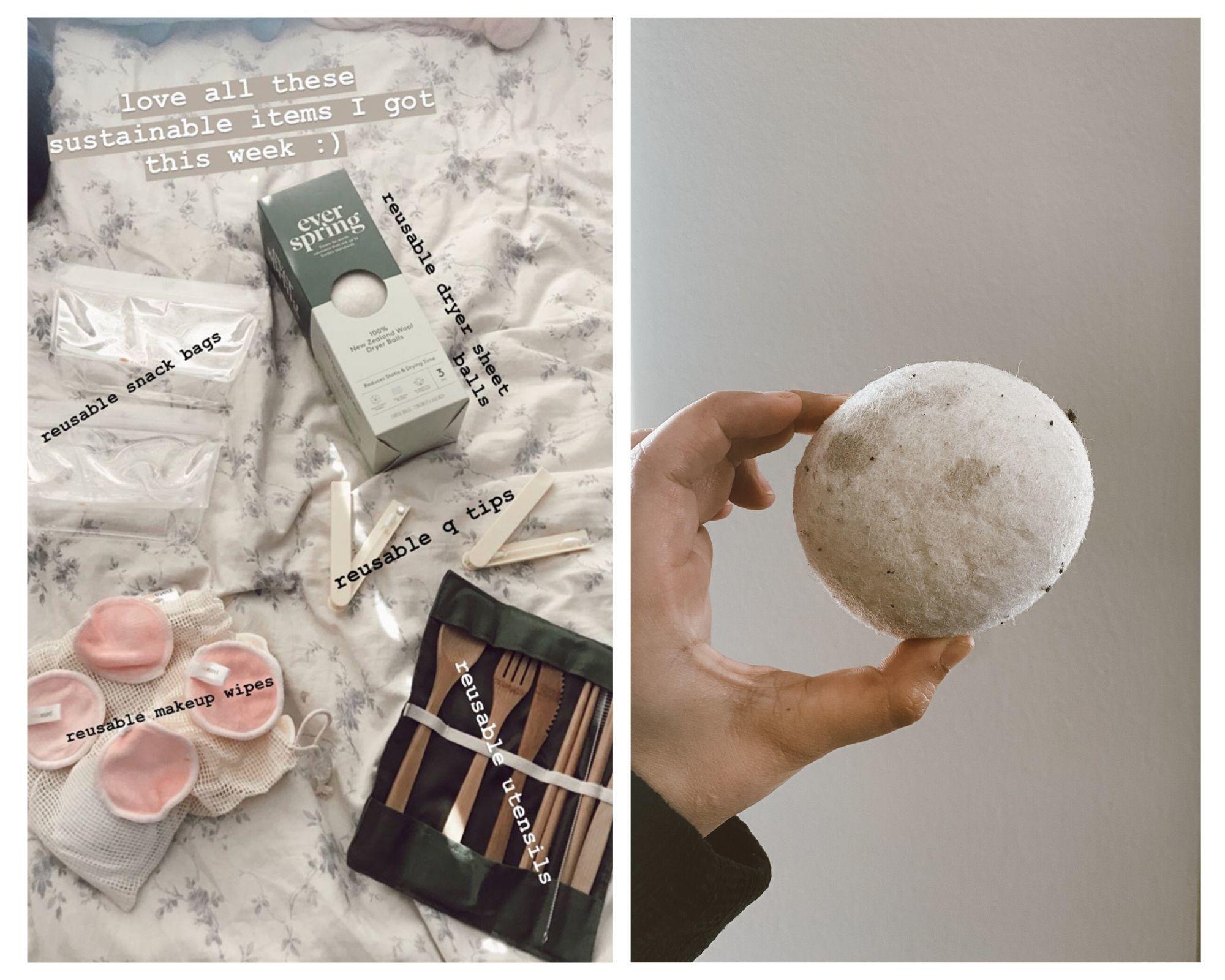 reusable items: make up pads, dryer sheet balls, reusable utensils