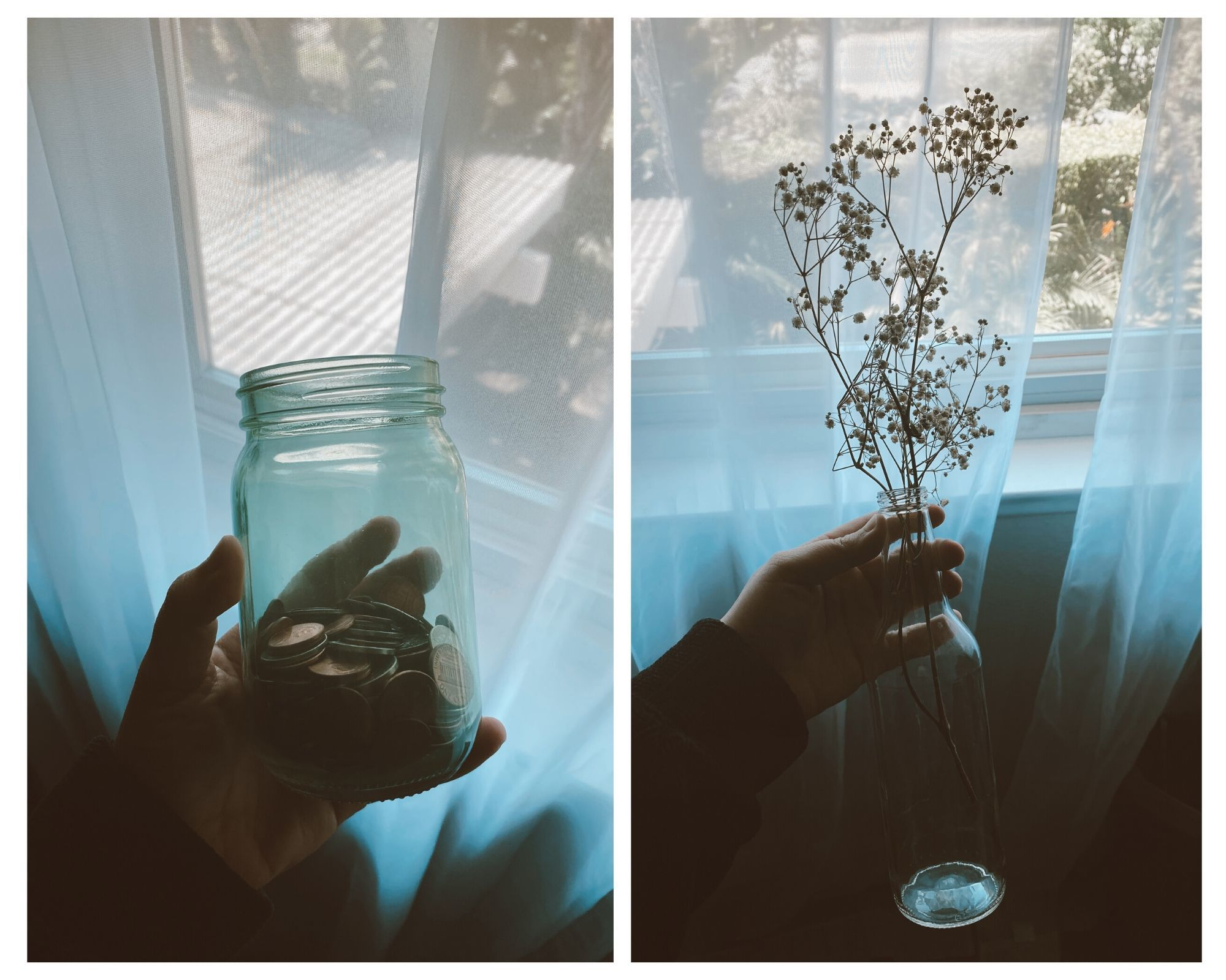 Bailey's repurposed glass bottles for coin jar and flower boquets