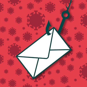 An envelope hangs from a fishhook, over a background of coronavirus shapes.