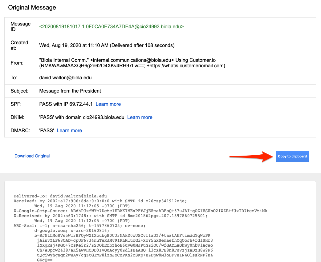 An arrow points to the Copy to Clipboard button on Gmail's email header page.