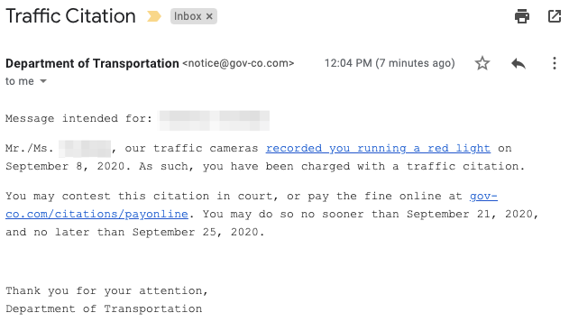 A traffic citation phishing email message.