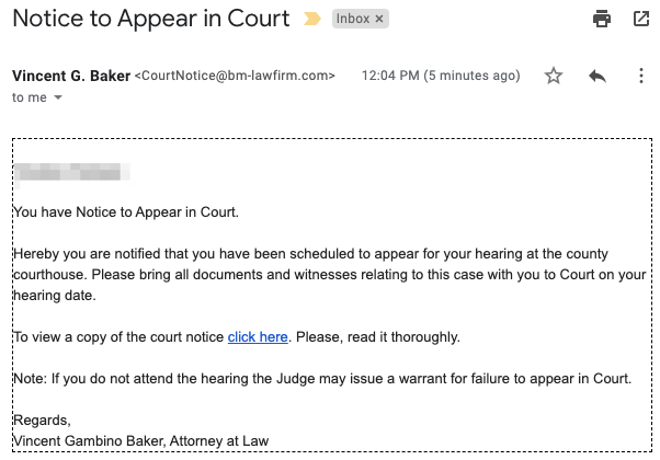 A phishing email message with the subject, Notice to appear in court.