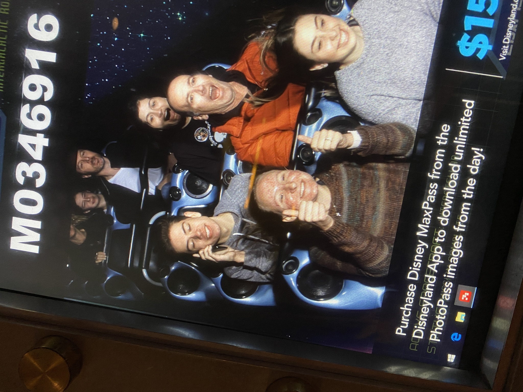 Ethan and some friends on Space Mountain at Disneyland. Caption: Me and friends at Disneyland, taking some fun photos!