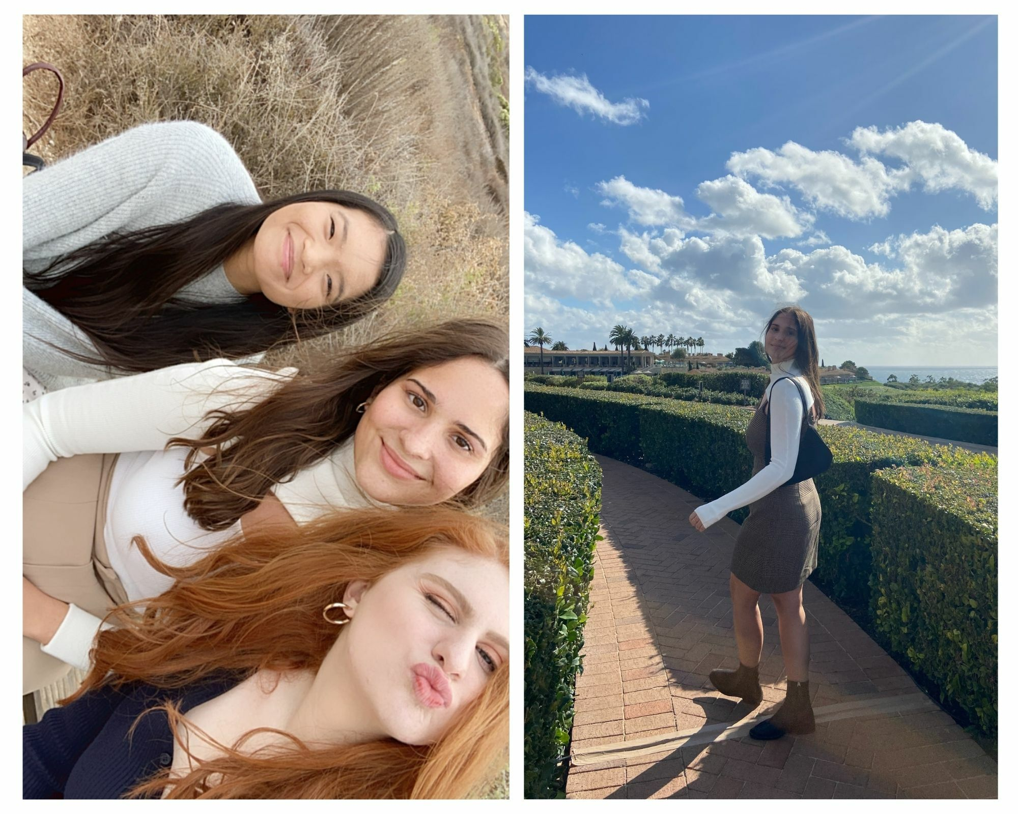 There's two photos in one: Maggie with her housemates/friends, and Maggie out in a garden on a walk.