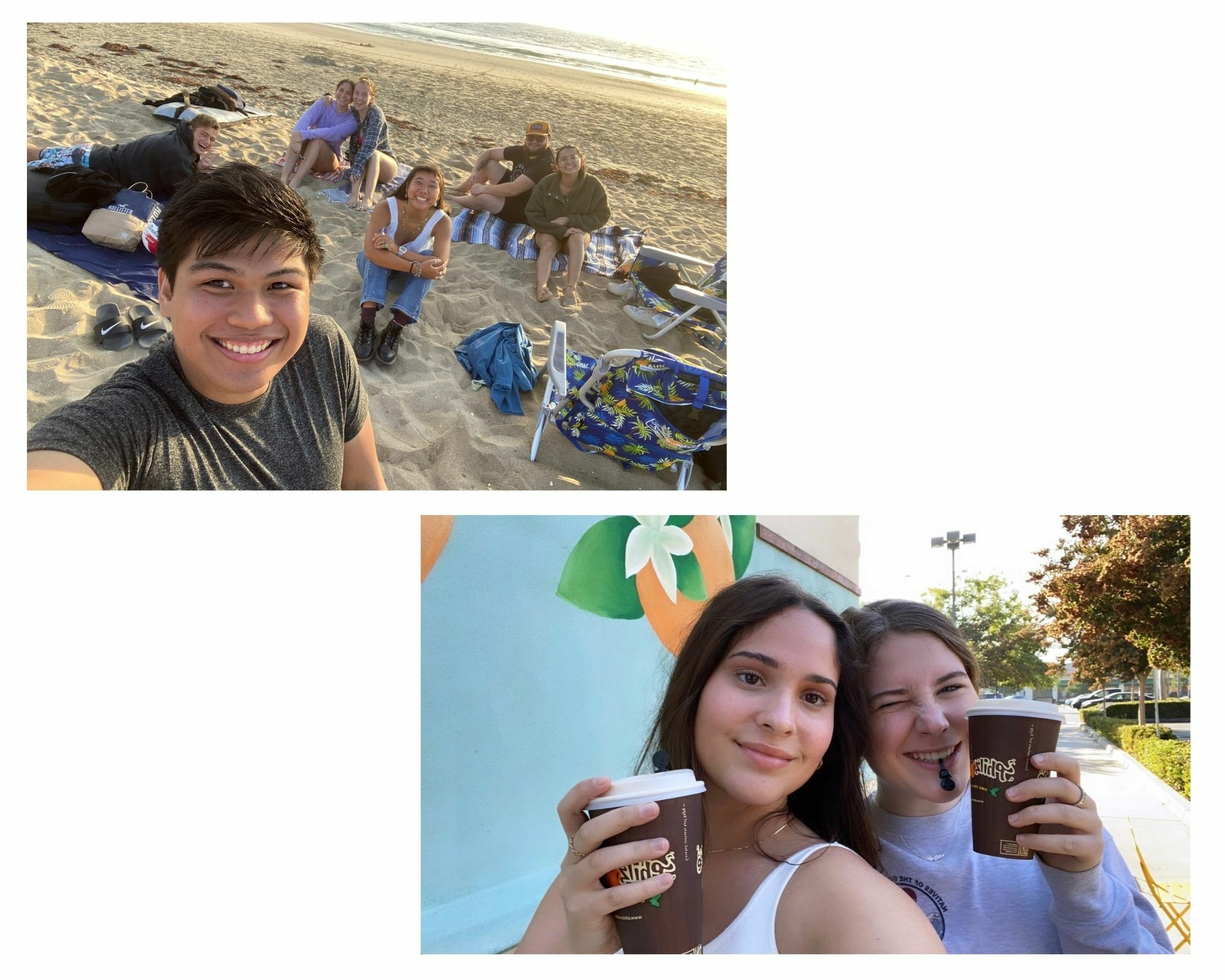 Two photos in one: Maggie and friend drinking Philz' Coffee, and then Maggie and a collection of Ambassadors at the beach