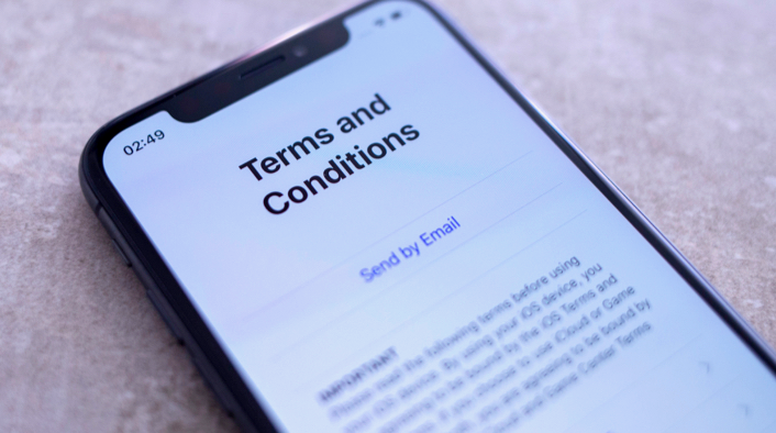 A smartphone screen displays an app's Terms and Conditions page.