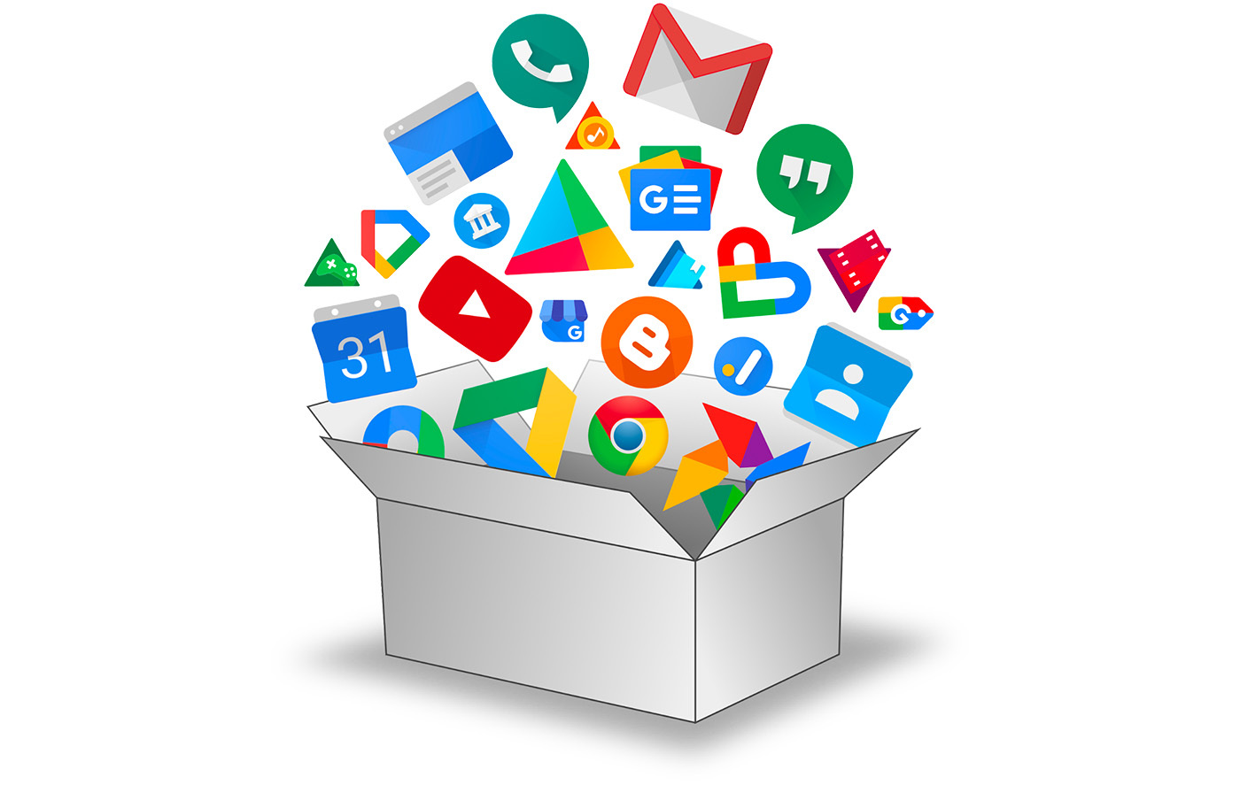 Icons from many Google services fly out of an open box.