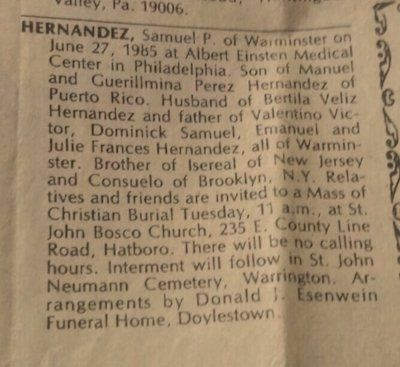 Image shows Dominick's Father's obituary