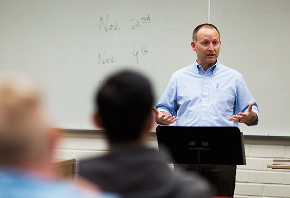 Professor speaking to a class