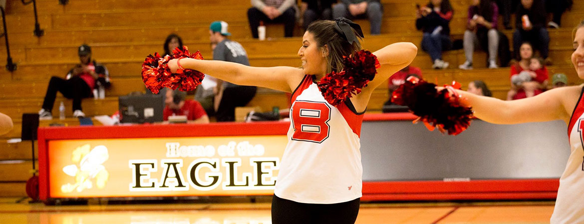 A cheerleader performs with pom poms at a game