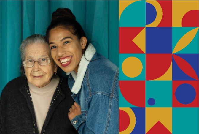 Photo of Biola student with her grandmother on the left and decorative design elements on the right.