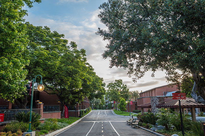 A Biola street with a view of the cafeteria and fire pavilion